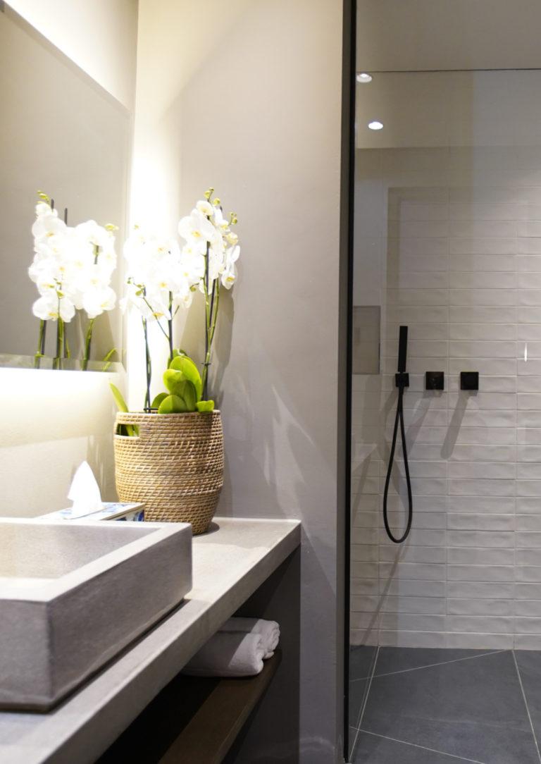 Walk in rain shower in En-suite bathroom in Classic Room at Villa Lion View