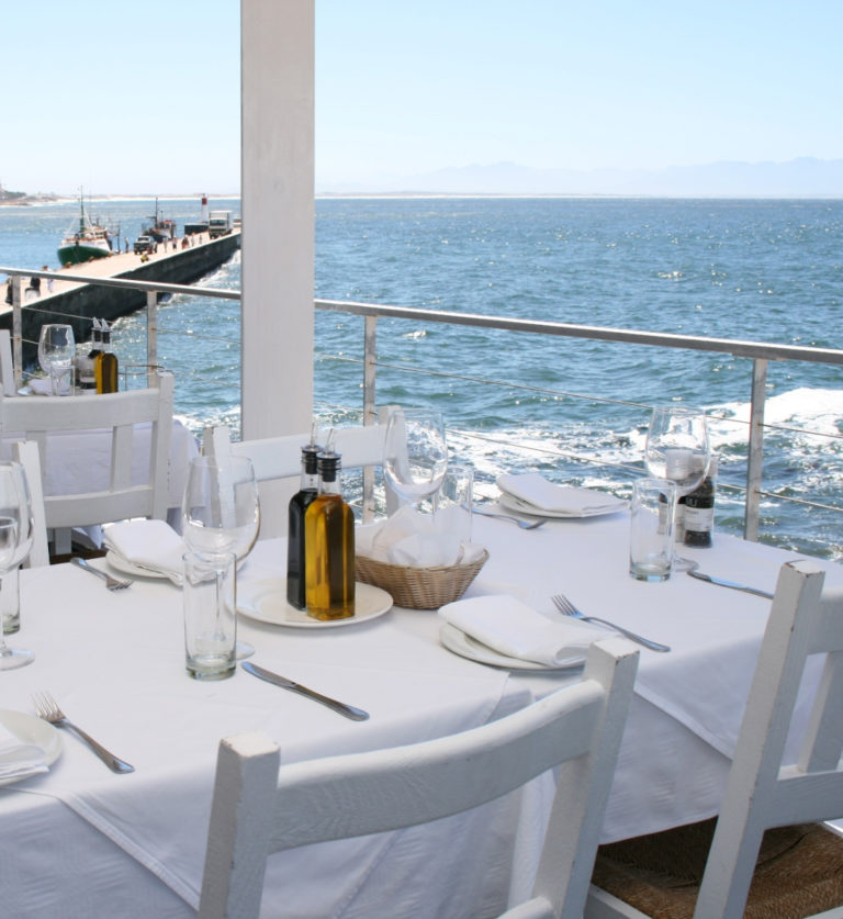 Ocean view from table at Harbour House in Kalk Bay