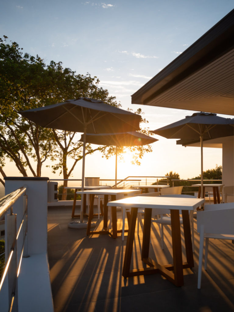 Outdoor Seating Area during sunset at Villa Lion View